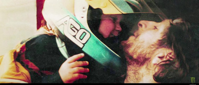 Young Valentino Rossi with his motorcycle racing father, Graziano Rossi.